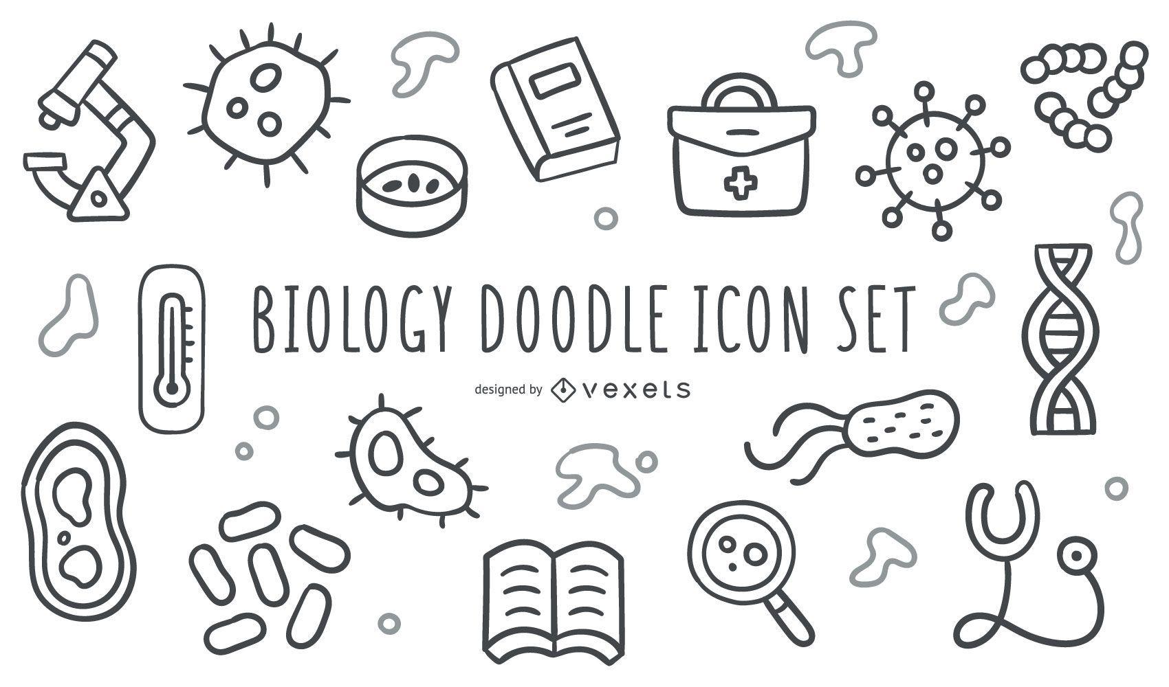 Biology doodle icon set