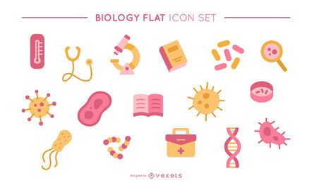 Biology flat icon set