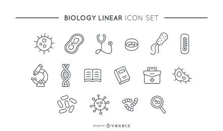 Biology linear icon set