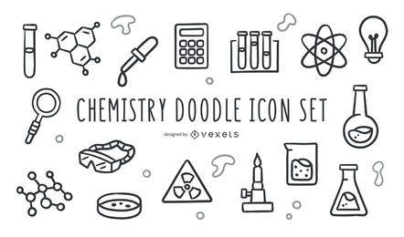 Conjunto de ícones de doodle de química