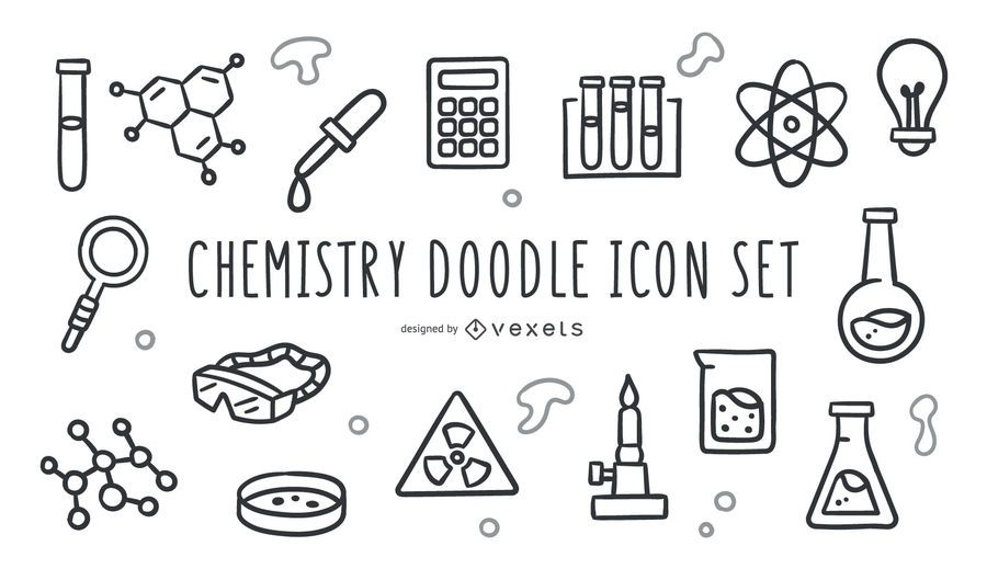 Chemistry doodle icon set