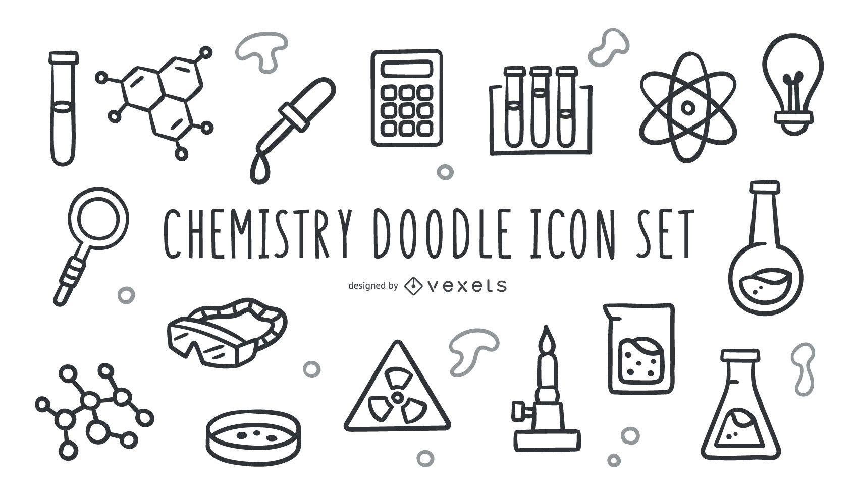 Chemie-Doodle-Symbolsatz