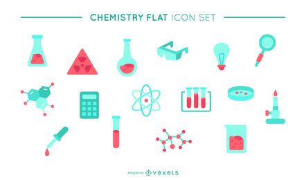 Chemistry flat icon set