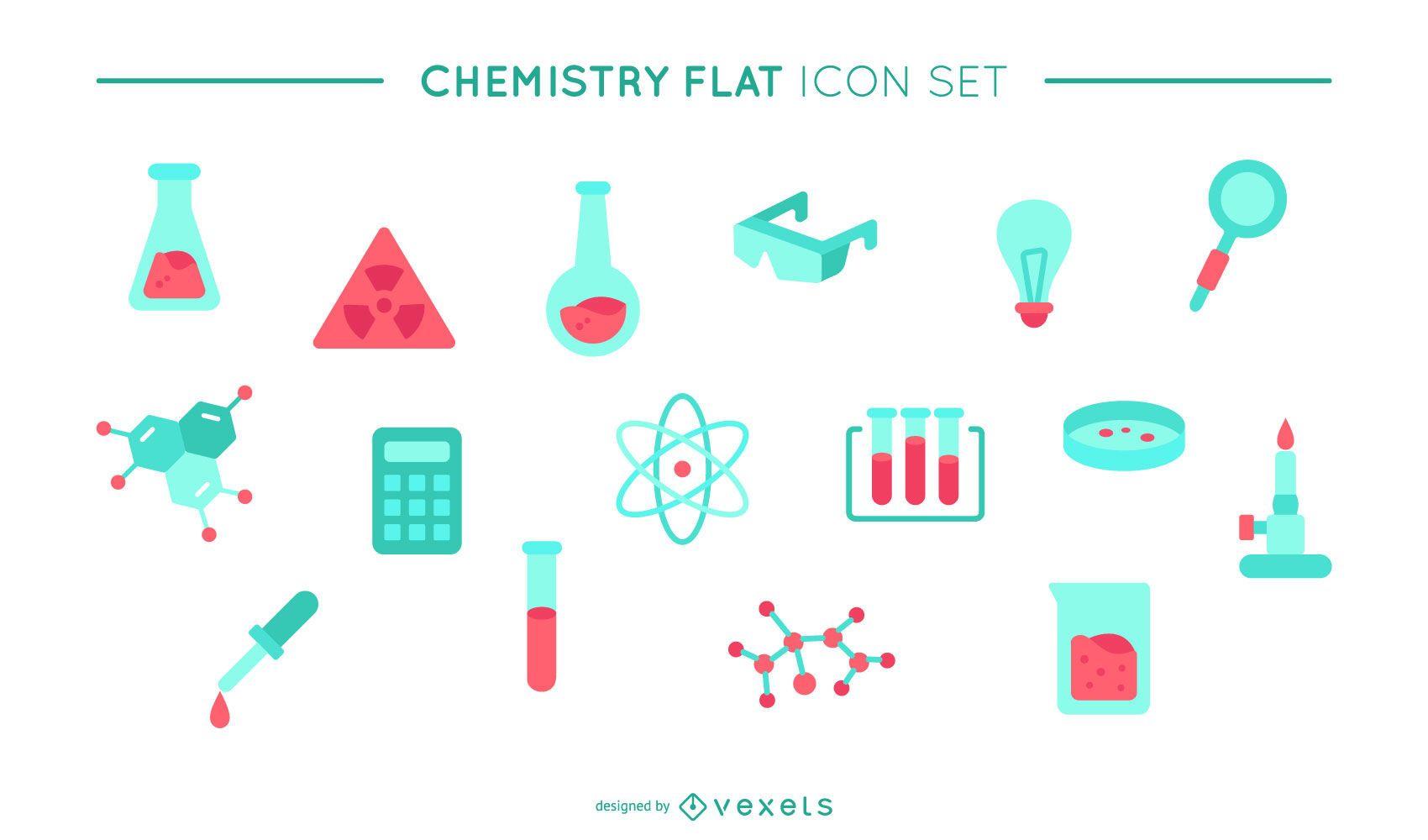 Conjunto de iconos planos de química