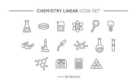 Conjunto de iconos lineales de química