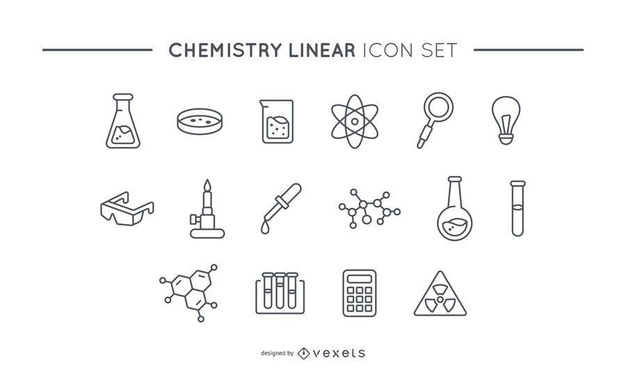Conjunto de iconos lineal de química