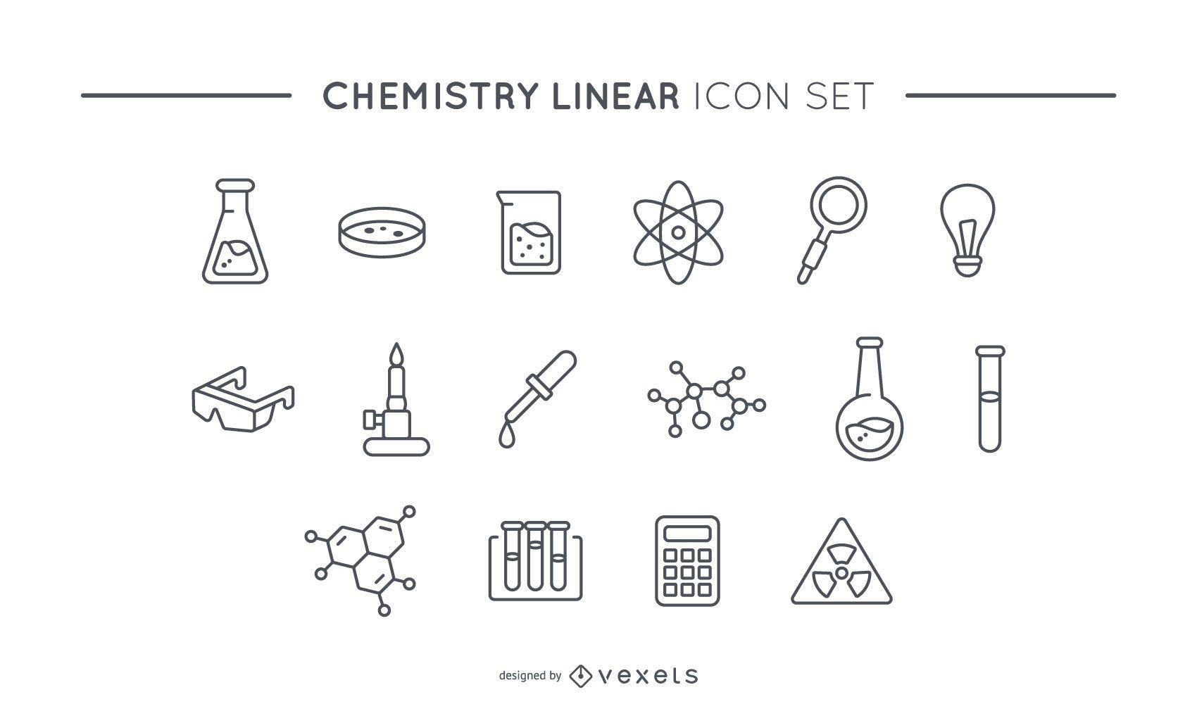 Chemie lineares Icon-Set
