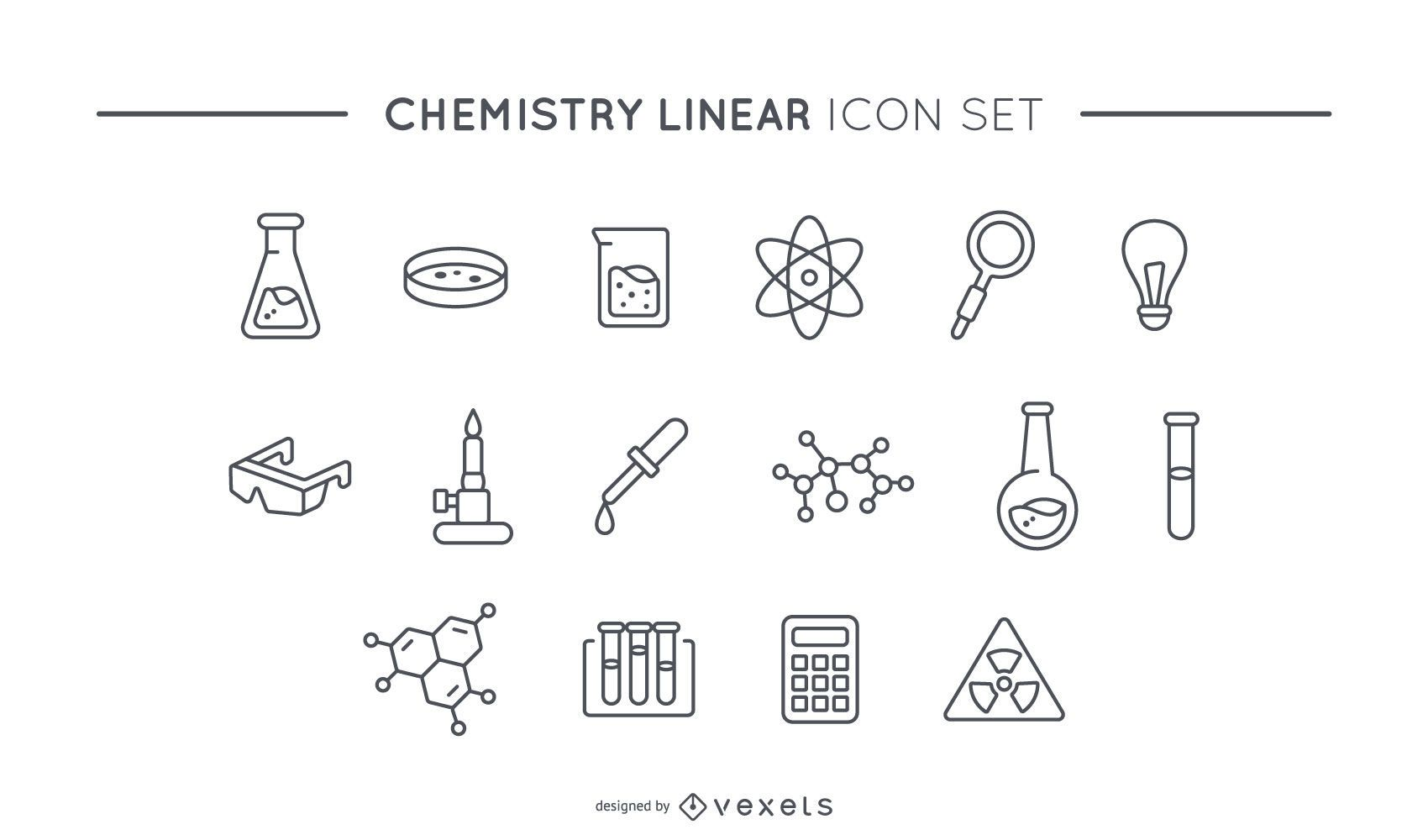 Chemistry linear icon set