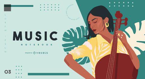 Diseño de portada de aprendizaje musical