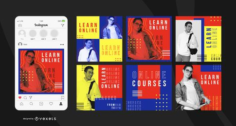 Modelo de postagem do instagram de educação on-line