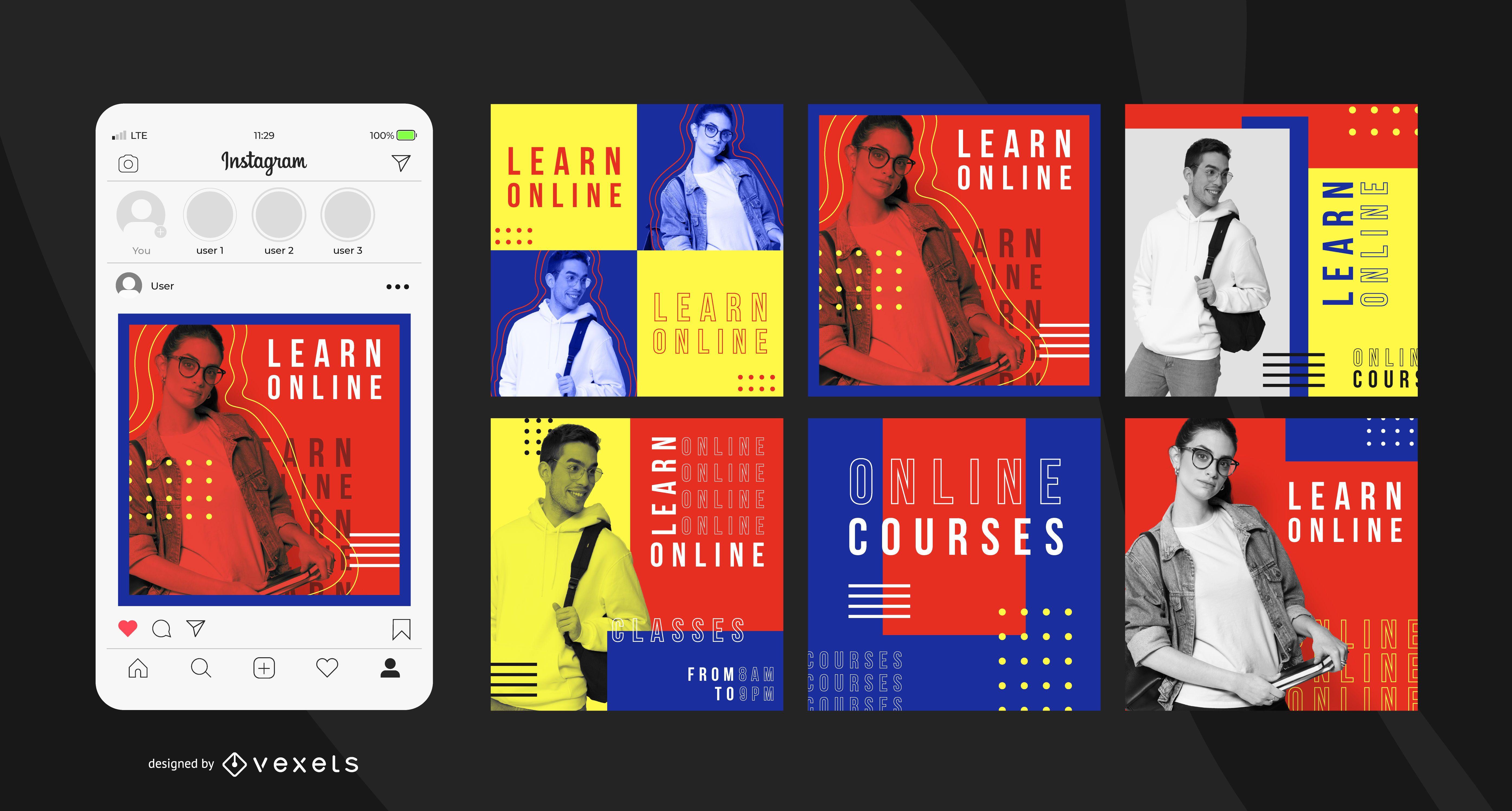 Plantilla de publicación de Instagram de educación en línea