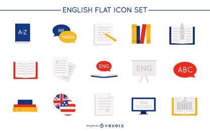 Conjunto de ícones lisos em inglês