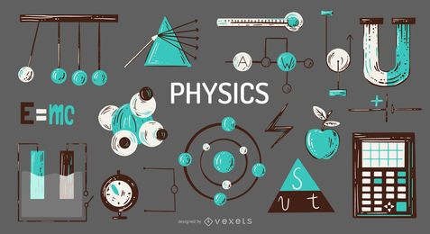 Physics elements illustration set