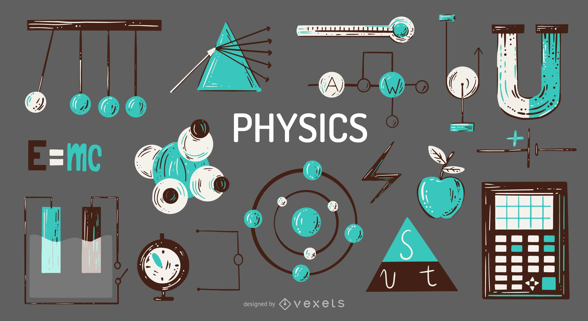 Conjunto de ilustraci?n de elementos de f?sica
