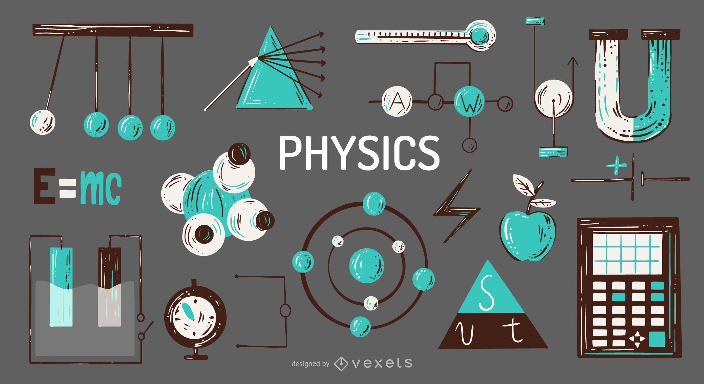 Physics elements illustration set