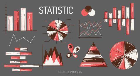 Conjunto de ilustração de elementos de estatística