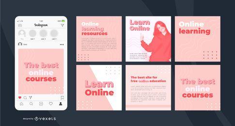 Modelo de postagem simples no Instagram de aprendizado on-line