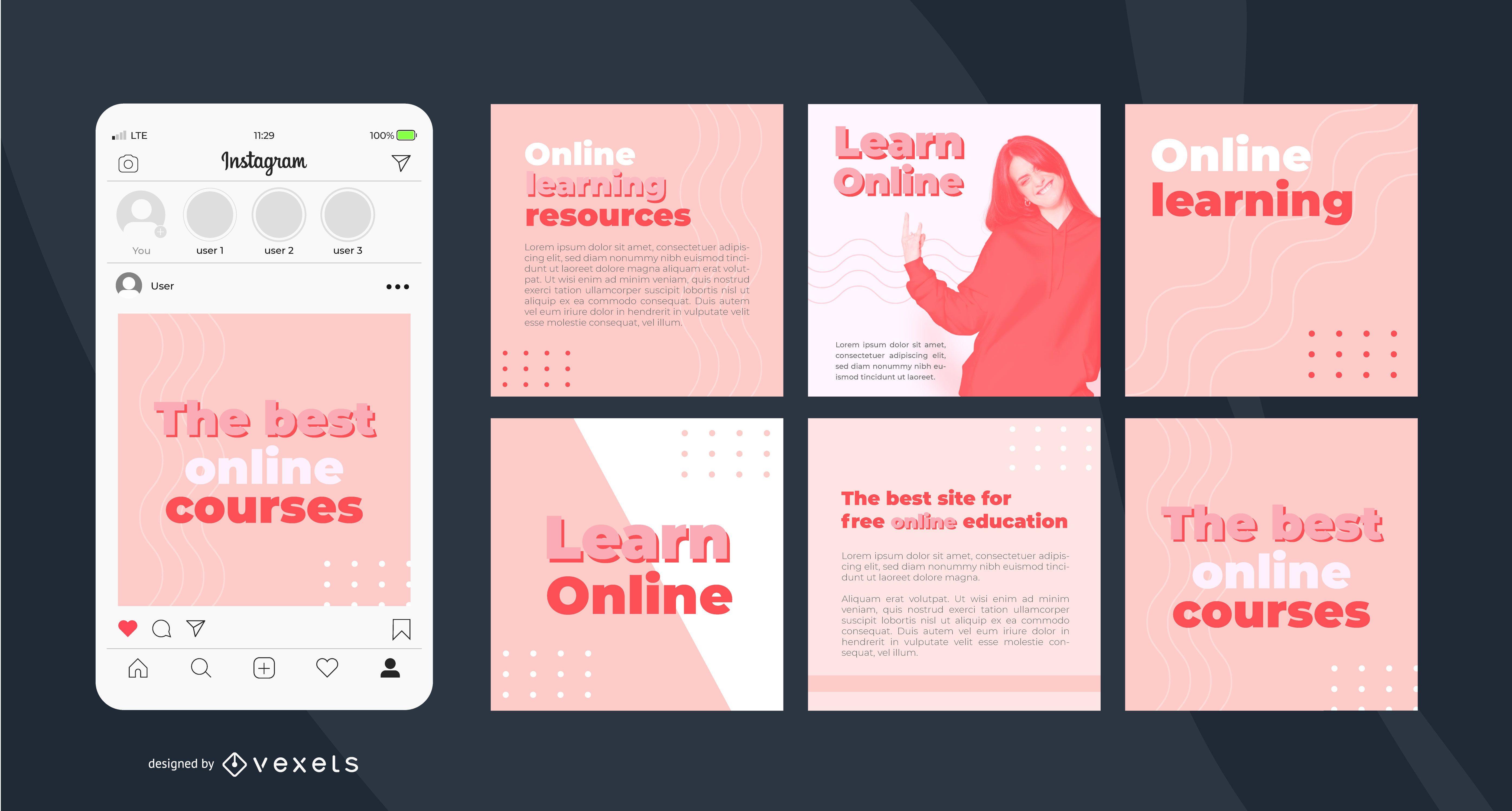 Modelo de postagem do Instagram de aprendizagem online simples