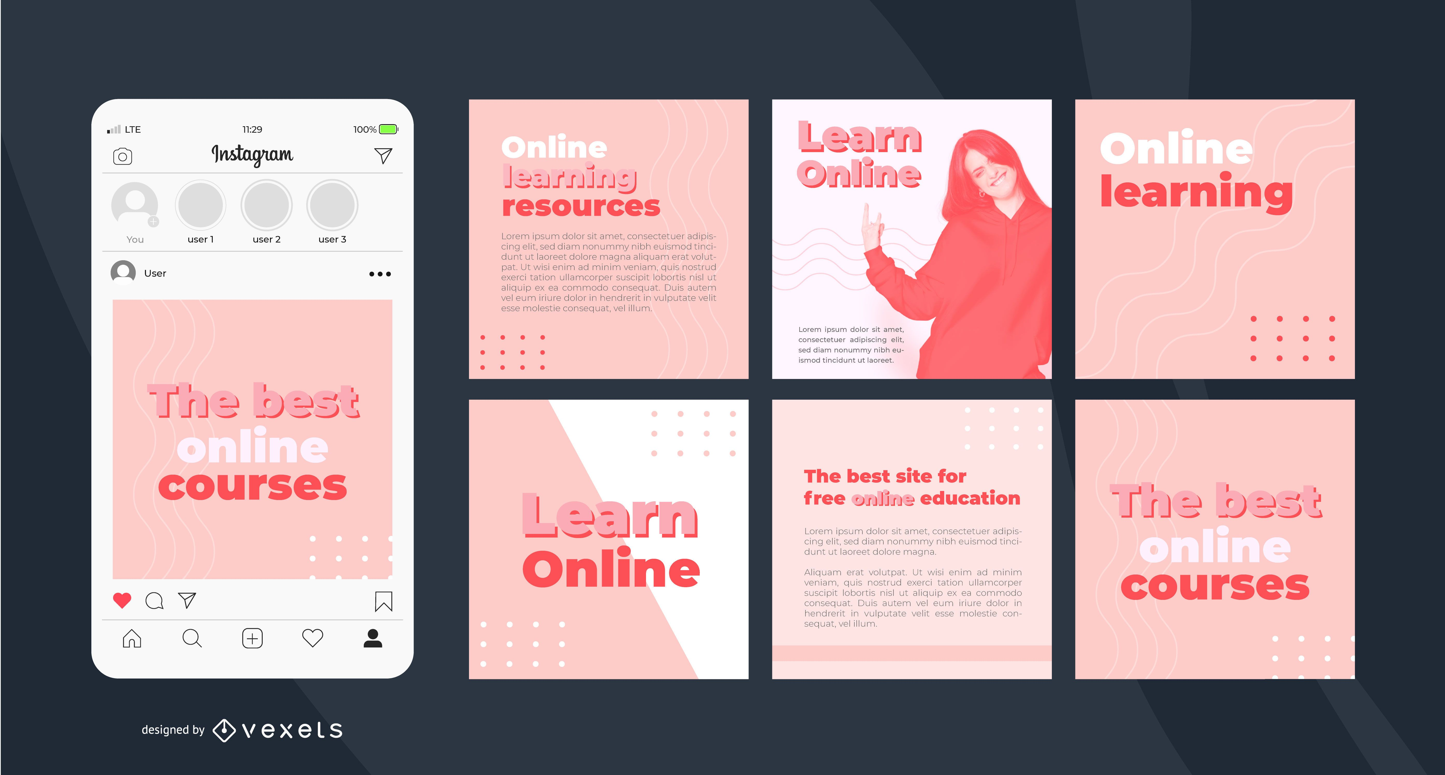 Plantilla simple de publicación de Instagram de aprendizaje en línea