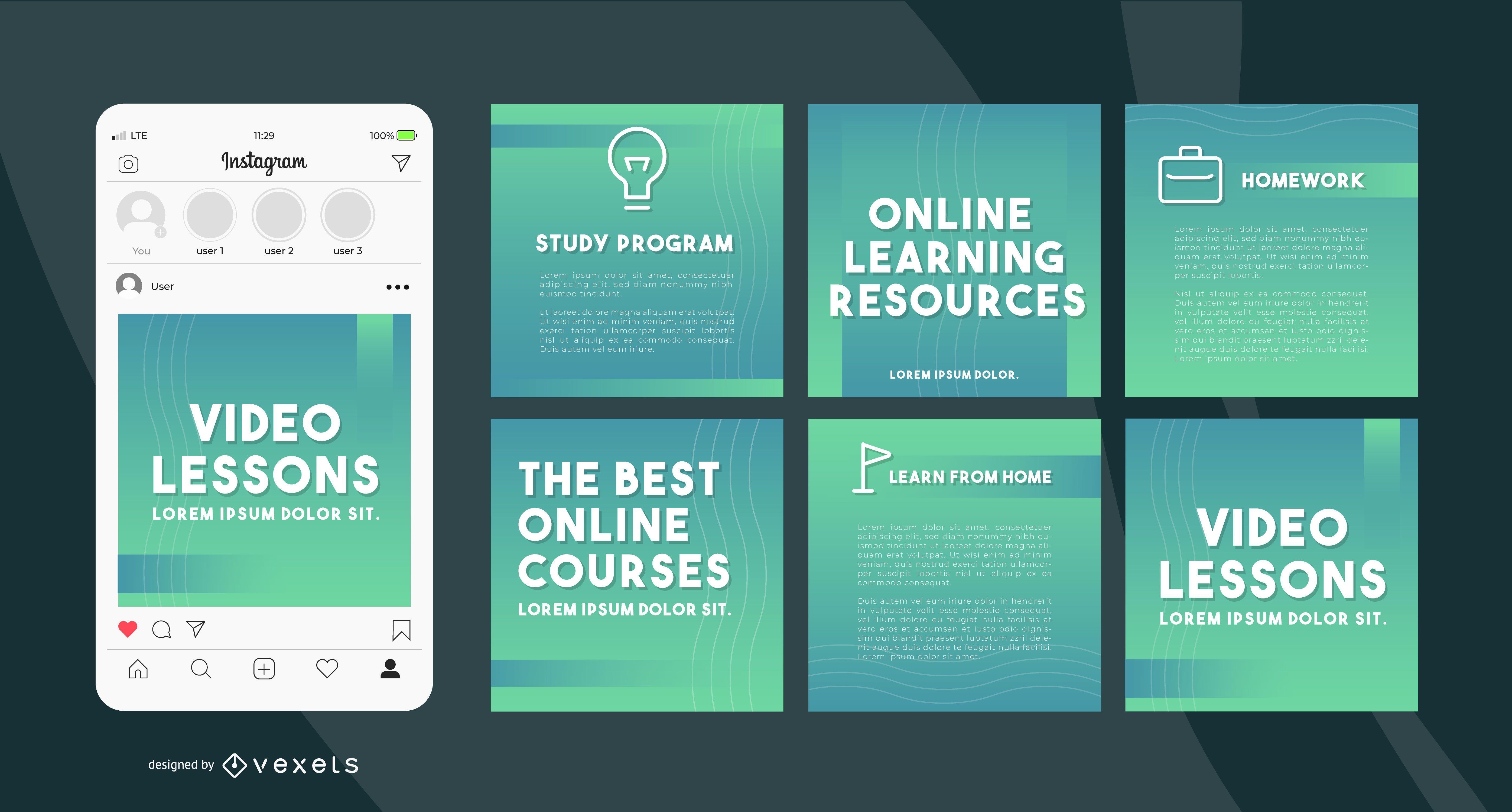 Plantillas de redes sociales de aprendizaje en línea