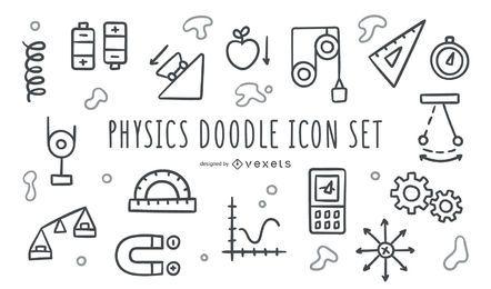 Conjunto de iconos de doodle de física