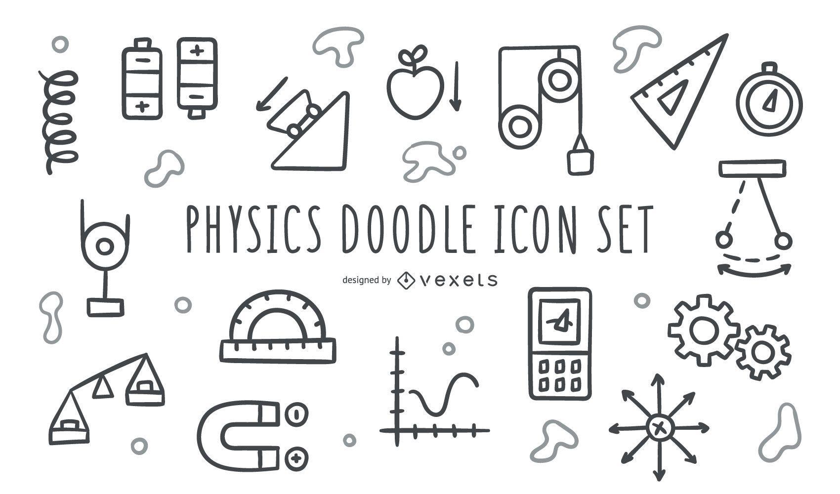 Physik-Doodle-Symbolsatz