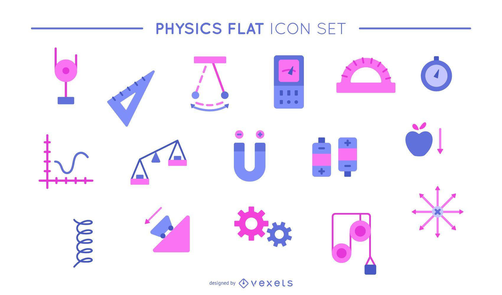 Physics flat icon set