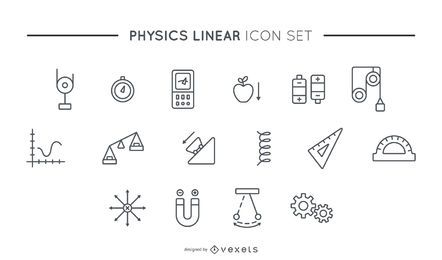 Physics linear icon set