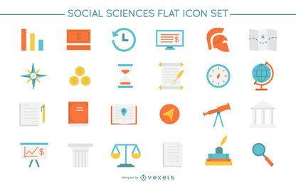 Social sciences flat icon set