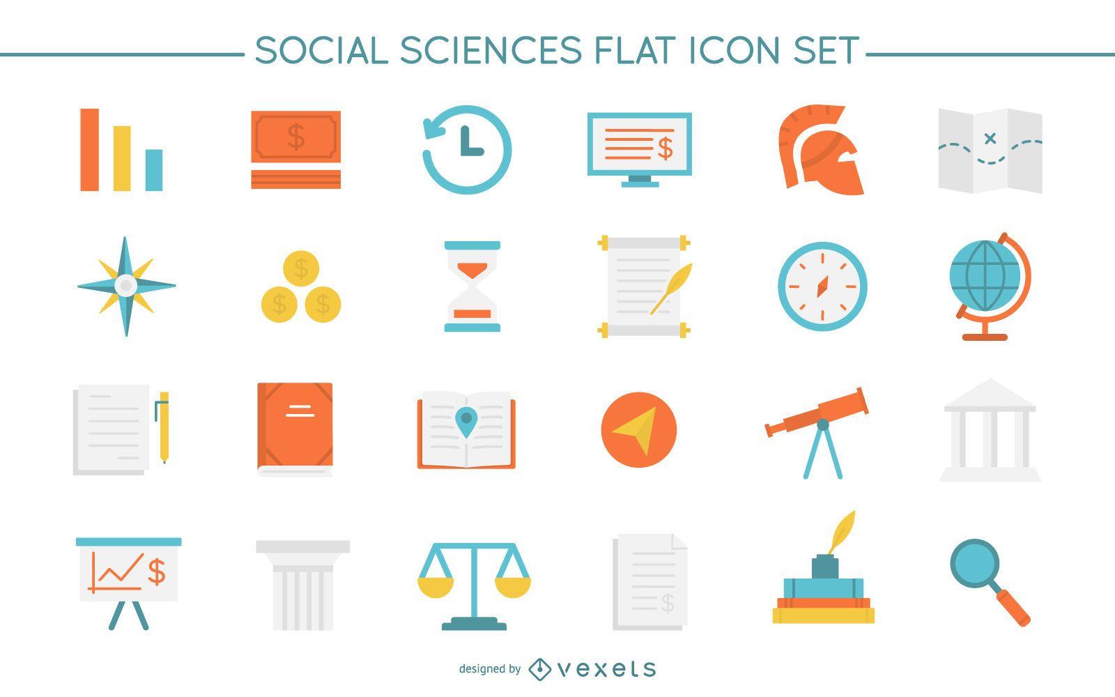 Conjunto de ícones planos de ciências sociais