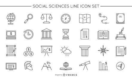 Conjunto de iconos de línea de ciencias sociales