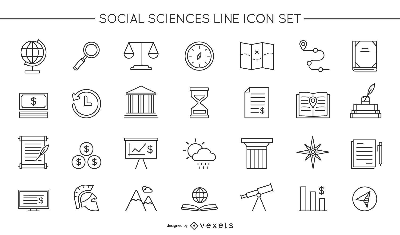 Conjunto de ícones de linha de ciências sociais