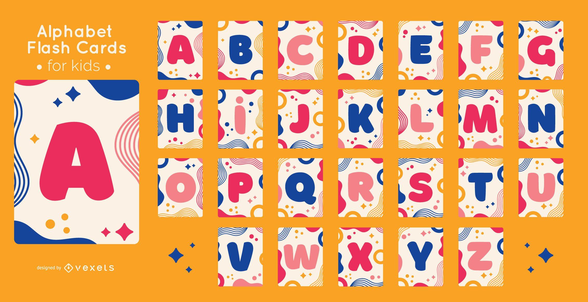 Conjunto de flashcard do alfabeto