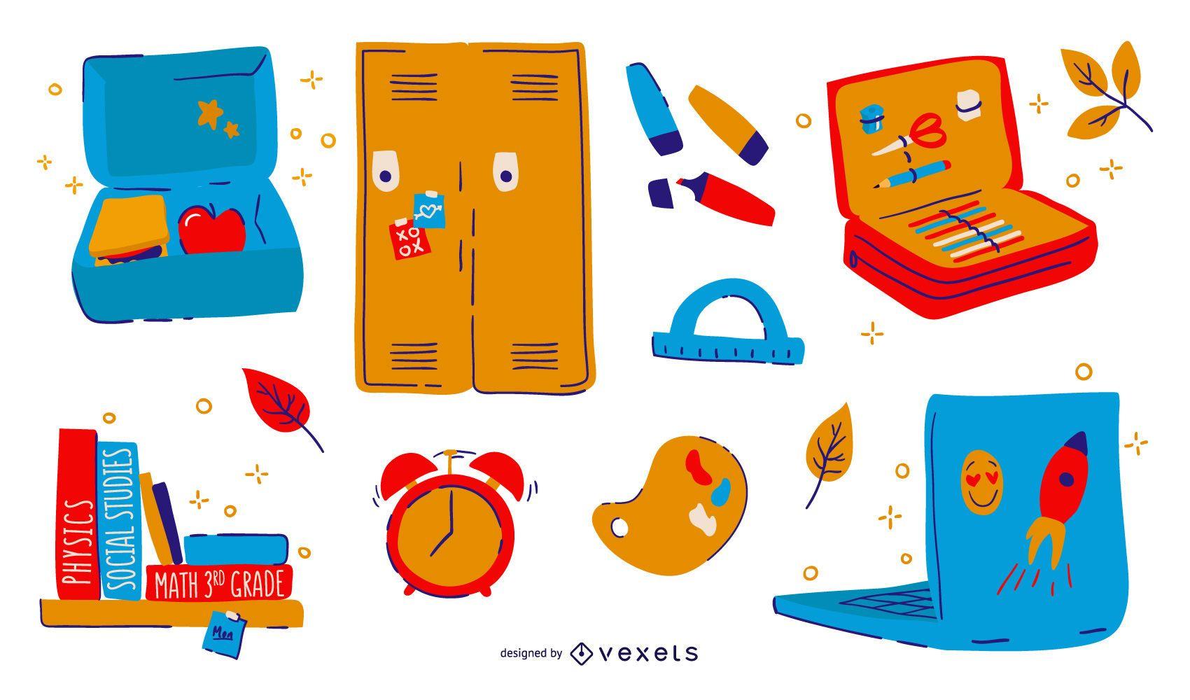 Conjunto de elementos coloridos de regreso a la escuela