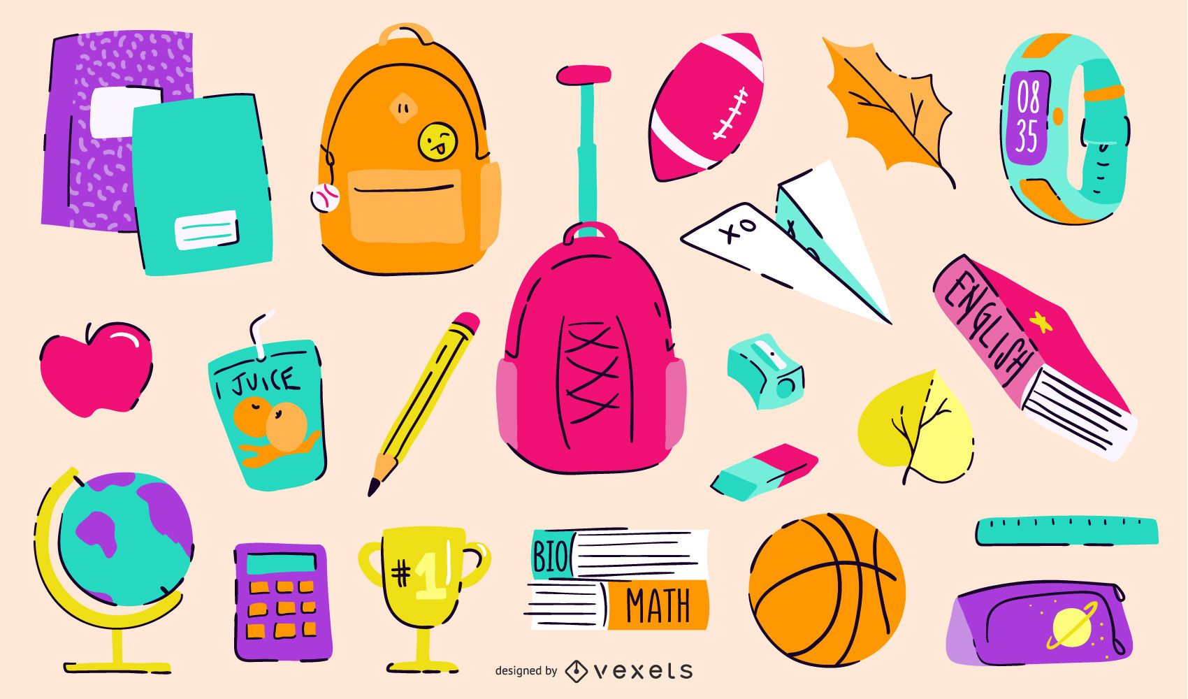 Back to school colorful elements pack