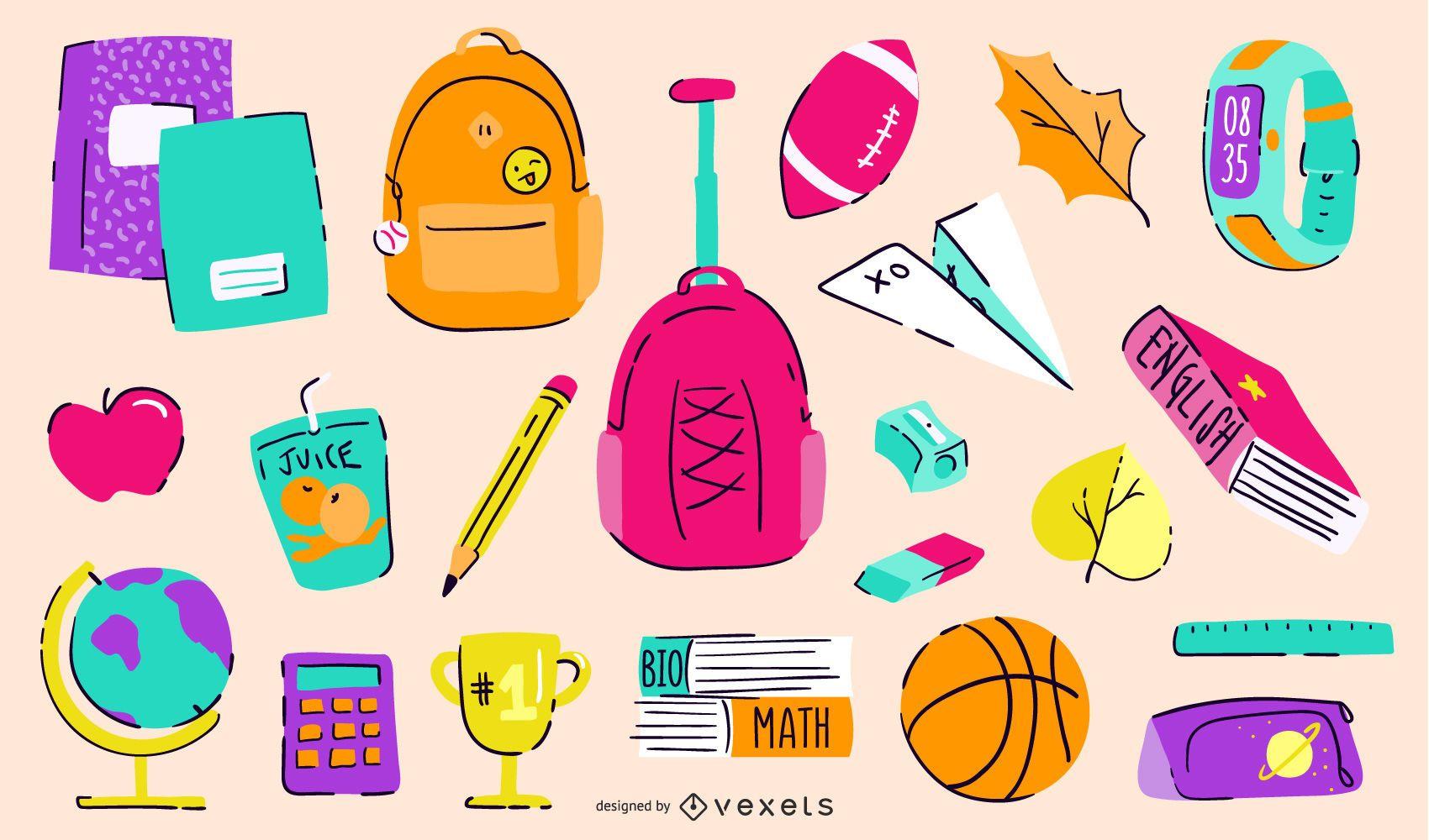 Paquete de elementos coloridos de regreso a la escuela