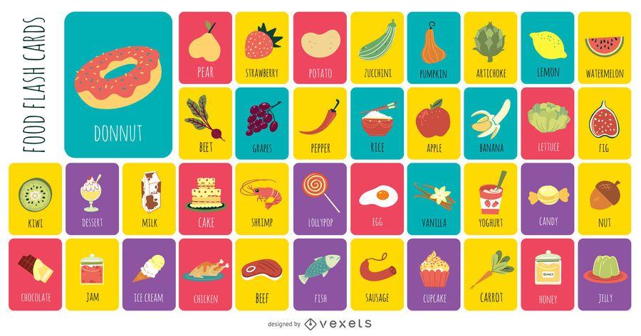 Colección plana de tarjetas de alimentos