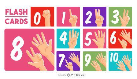 Conjunto de cartões com números de mãos