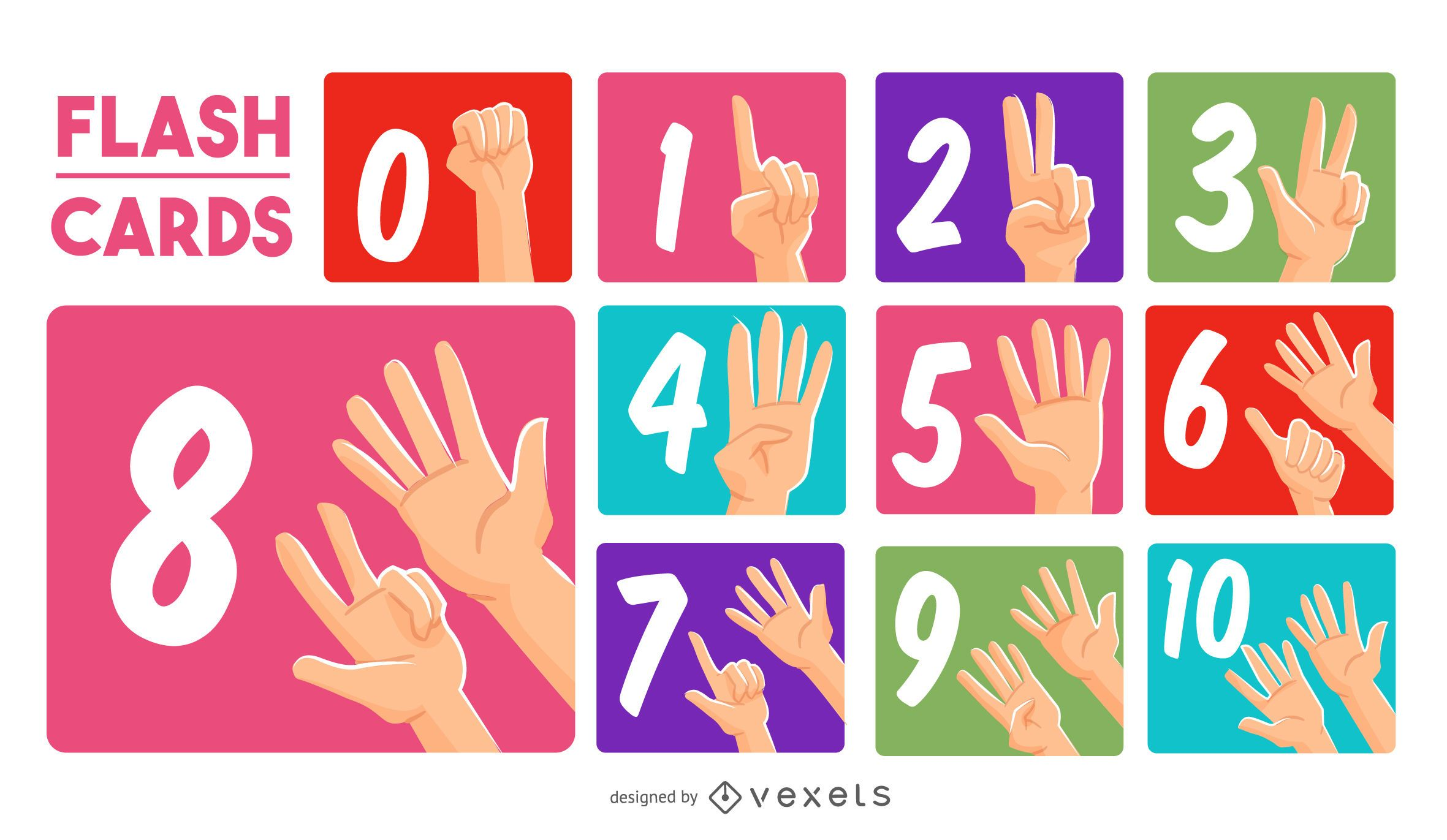 Hands numbers flashcard set
