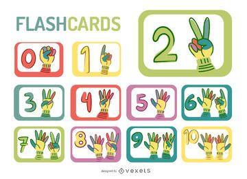 Dibujos animados manos números flashcard set