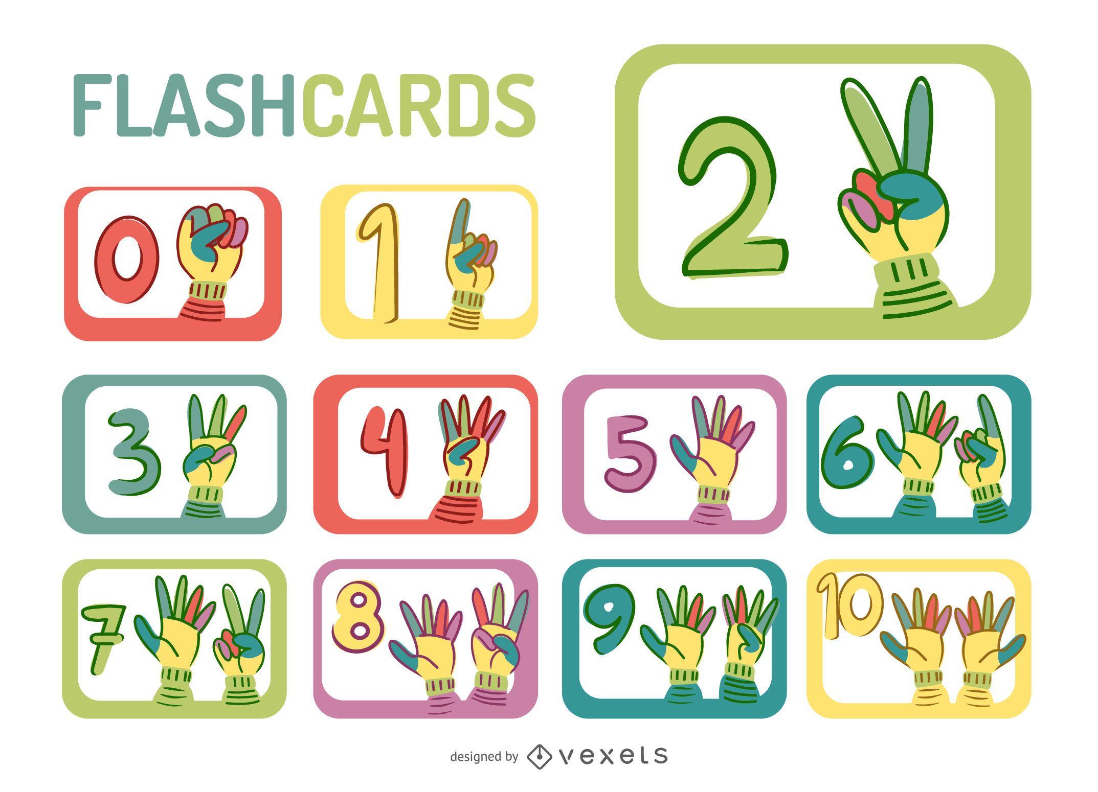 Dibujos animados manos n?meros flashcard set