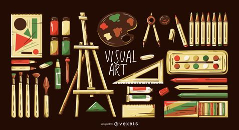 Conjunto de ilustração de elementos de artes visuais