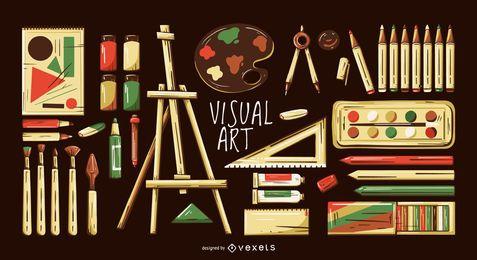 Conjunto de ilustración de elementos de artes visuales