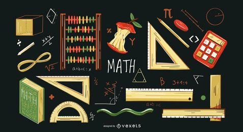 Math elements illustration set