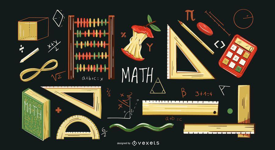 Conjunto de ilustración de elementos matemáticos