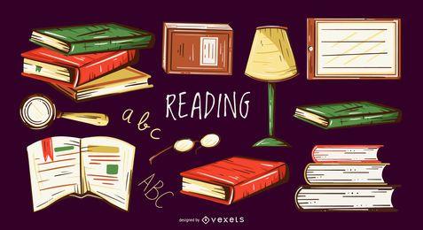 Conjunto de ilustración de elementos de lectura