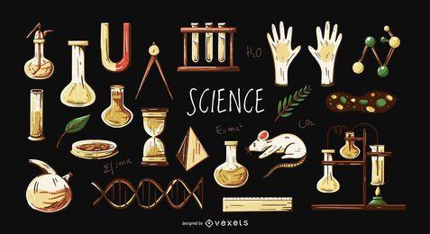 Conjunto de ilustración de elementos de ciencia