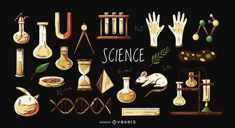 Science elements illustration set