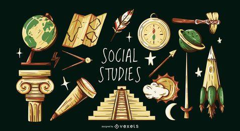 Conjunto de ilustración de elementos de estudios sociales