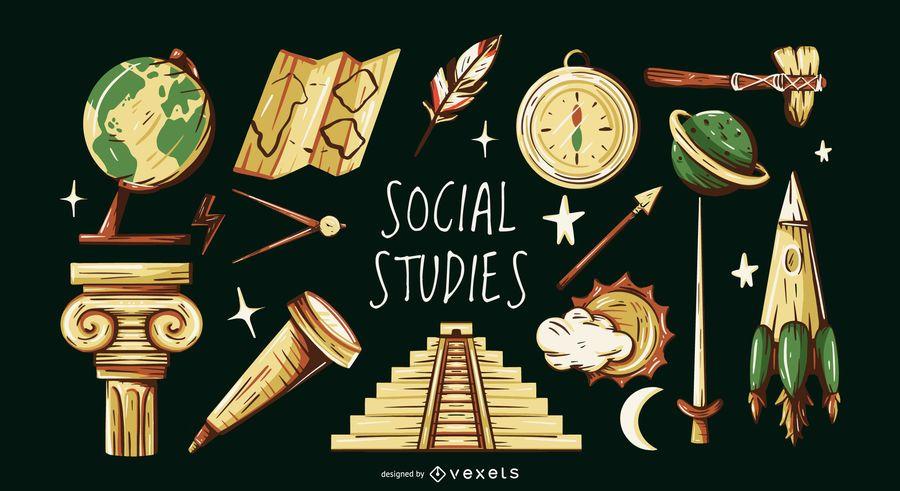 Conjunto de ilustração de elementos de estudos sociais